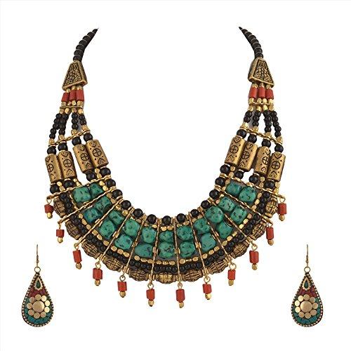 Set zephyrr in stile sanscrito, moda tibetana, collana girocollo multifilo e orecchini fatti a mano. e materiale non metallico, colore: multi, cod. jan-483