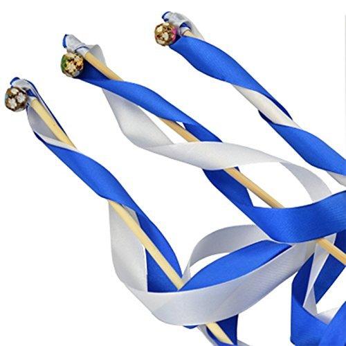 Hangnuo Glücksstäbe / Zaubestäbe mit Bändern für Hochzeit, Weihnachten, Geburtstag, Party, Seide, Spitzenband, mit Glocken, 30Stück Blue&White