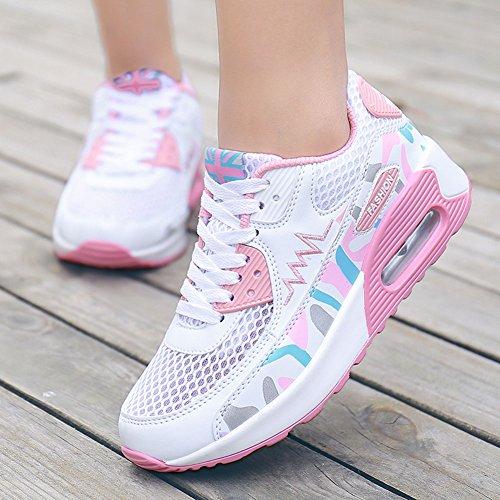 Wealsex Sportschuhe damen Schuhe Freizeit Sneaker Weiß Pink