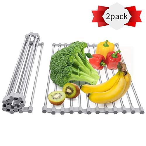 Estante enrollable para secar platos (2 unidades), escurreplatos enrollable sobre el fregadero, escurreplatos plegable de acero inoxidable (17.3 pulgadas x 9.2 pulgadas)
