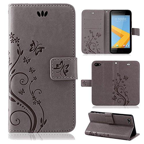 betterfon | Flower Case Handytasche Schutzhülle Blumen Klapptasche Handyhülle Handy Schale für HTC One A9s Grau