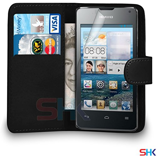 huawei-ascend-y300-black-pu-leather-wallet-flip-case-cover-pouch-screen-protector-polishing-cloth-by