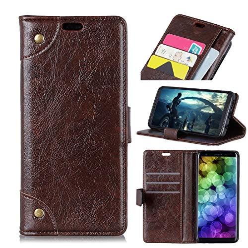 Happy-L Hochwertiger Koffer für Mi 8 Lite, Kupferschnalle Nappa Textur Horizontal Flip Ledertasche mit Halter & Kartenfächer & Geldbörse (Farbe : Kaffee) -