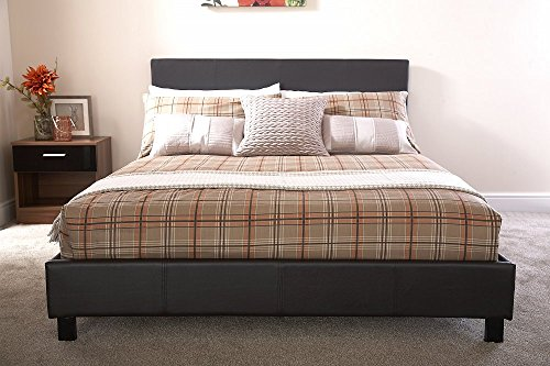 Home Source Modern Low Bedstead Bed Frame with Wooden Slats, Faux Leather, Brown, Double, 91 x 148 x 200 cm
