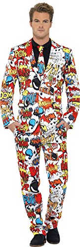 Smiffys, Herren Comic Strip Anzug Kostüm, Jacke, Hose und Krawatte, Größe: XL, (Comic Kleidung Kostüm)