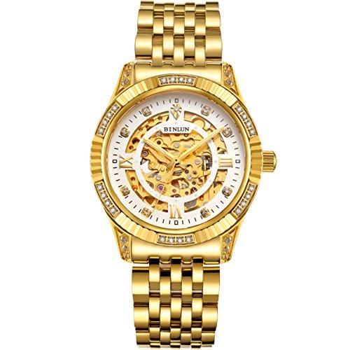 Binlun orologio da polso da uomo placcato oro 18K, automatico/meccanico