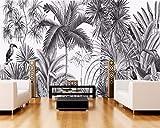 Wphwm Fotomurales 3D Papel PintadoPared Vintage Fondo De Pantalla Pintado A Mano En Blanco Y Negro Coot Tufts Jungle Mural Tv Fondo De Pantalla Fondo De Pantalla 400x280cm