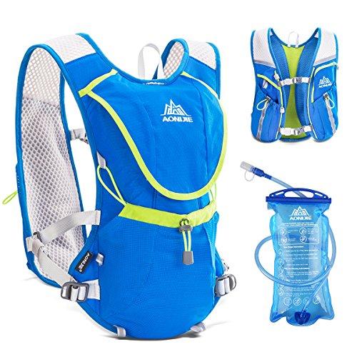 triwonder Professional Outdoor Mochilas Trail Marathoner Running Race Hydration Weste Hydration Pack Rucksack, damen Jungen Kinder Herren unisex, Blue - with 1.5L Water Bladder, L