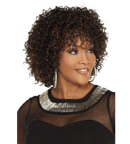 Bestland Afro-Perücke billige Kunsthaar Kurz Kinky Curly Perücken für Braun Frauen African American weiblich Perücke hitzebeständig Faser Perücke (Afro Perücken Billig)