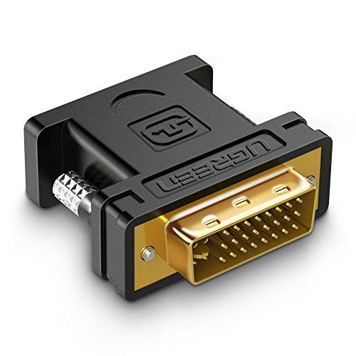 UGREEN DVI auf VGA Adapter DVI-I 24+5 Stecker zu VGA HD15 Buchse Konverter Digital auf Analog Adapter unterstützt für Grafikkarten,Beamer,Monitore TFT Crt, Gaming, Laptop,FULL HD 1080p Adapter Crt-monitore