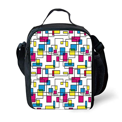 School Supplies Abstract,Artistic Digital Line with Color Featured Geometric Forms Creative Fractal Graphic Decorative,Multicolor for Girls or boys Washable