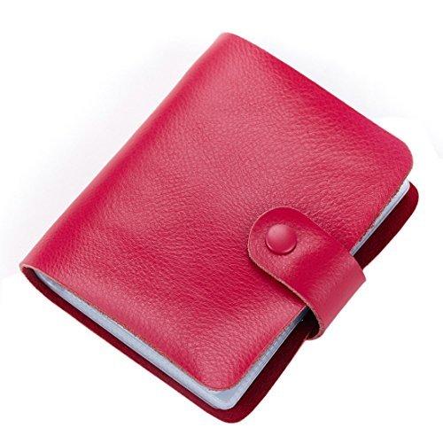 Esdrem in pelle con porta carte di credito, documenti, biglietti da visita, 60-Custodia a libro con tasca porta cartellino Rosa caldo