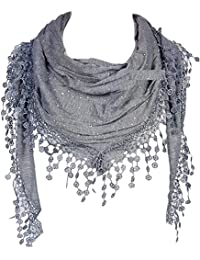 GFM Stylish Triangle Scarf with Lace and Tassels - Excellent Gift Idea