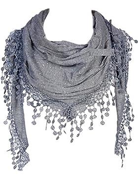GFM sciarpa triangolare alla moda con pizzo e nappe,ottima idea regalo