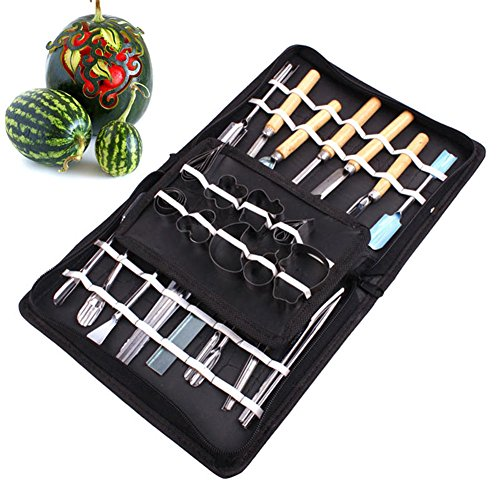lzn 46 Pcs/Set Vegetable Fruit Carving Tool Stainless Steel Watermelon Cutting Slicing DIY Assorted Cold Dishes Tools