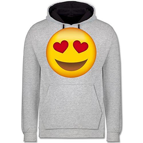 Comic Shirts - Verliebter Emoji - Kontrast Hoodie Grau meliert/Dunkelblau