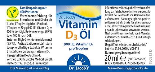 Dr. Jacob's Vitamin D3 Öl (optimale Bioverfügbarkeit, vegetarisch), 20 ml - 4