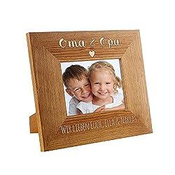 Casa Vivente Bilderrahmen mit Gravur - Für Oma und Opa - Personalisiert mit Namen - Rahmen aus Holz - Dekoration - Geschenkidee für Großeltern - Geburtstagsgeschenk