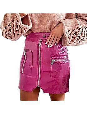 Falda Corta para Mujeres Moda Cintura Alta Cremallera A-lìnea Adelgazar Skirt de Cuero Sexy Color Sólido Casual...