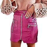 Falda Corta para Mujeres Moda Cintura Alta Cremallera A-lìnea Adelgazar Skirt de Cuero Sexy Color...