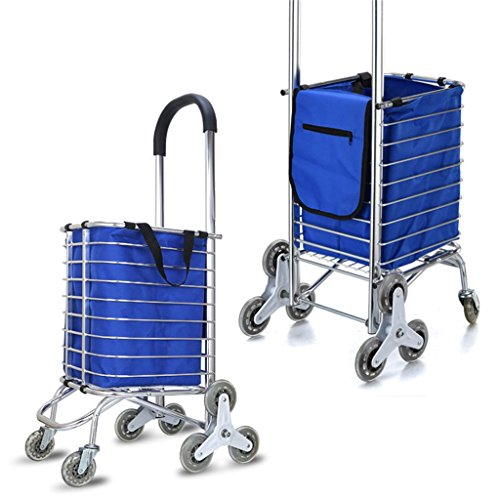 MMM@ Handwagen-Aluminiumlegierungs-beweglicher faltender Warenkorb-Supermarkt-Auto, zum des Gemüse-Aufstiegs zu kaufen Der kleine Ziehenwagen-Laufkatzen-Gepäckwagen ziehen den LKW mit Stoff-Beutel-Las