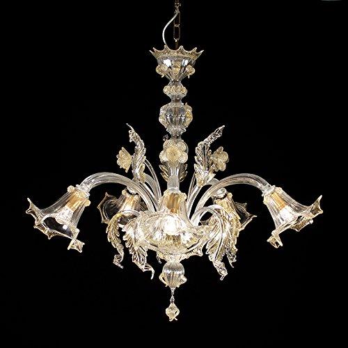 Lampadario murano accademia - 5 luci - cristallo decoro cristallo oro 24k   accademia model - 5 lights - crystal, gold 24k and crystal decoration