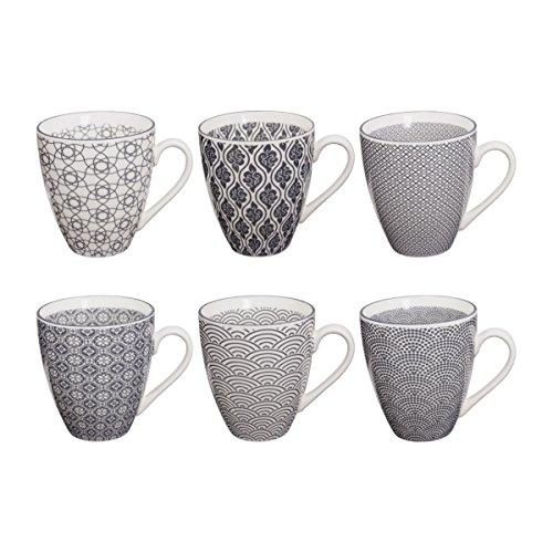Tokyo Design Studio Nippon Grey Tassen Set aus hochwertigem Porzellan. 6-er Set Tassen mit Henkel. Jede Kaffeetasse / Teetasse fasst 300 ml. Elegantes Muster. Spülmaschinenfest. Mikrowellengeeignet.