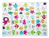 KitchenCraft Teestunde Arbeitsplattenschutz, Glas, Mehrfarbig, 30 x 40 x 1.10 cm, 1 Einheiten