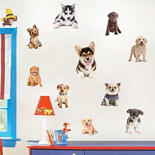 Wandaufkleber Küche Niedlichen Husky Deutscher Schäferhund Hund Sammlung 3D Wandaufkleber Pet Shop Kinder Dekoration Tier Kunst Wandbild Poster