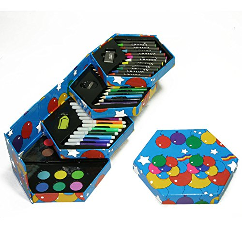 Malset-Kindermalbox-Dirty-Harry-Filzstifte-Wachsmaler-Buntstifte-Wasserfarben-in-sechseckiger-Aufbewahrungsbox