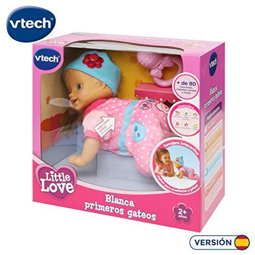VTech- Blanca Primeros gateos Little Love, muñeca bebé interactiva con más de 80 melodías, Canciones y Frases Que desarrolla y estimula el Aprendizaje (3480-190122)