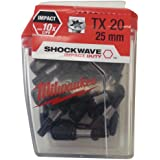 Boîte de 25 Embouts Torx MILWAUKEE TX20 25mm SHOCKWAVE 4932352555
