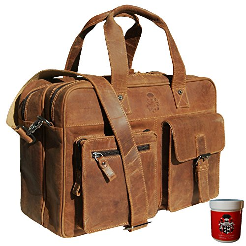 BARON of MALTZAHN Aktentasche mit Laptophülle GOETHE aus braunem Leder + Lederpflege
