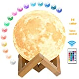HOKEKI 15cm LED Mond Lampe, 3D Druck LED Mondlicht mit Fernbedienung für Kinder, Kunst Dekoleuchte Dimmbar Nachtlicht Nachtlampe, Perfekte Geschenke für Eltern, Freunde, 16 RGB Farben Wechsel