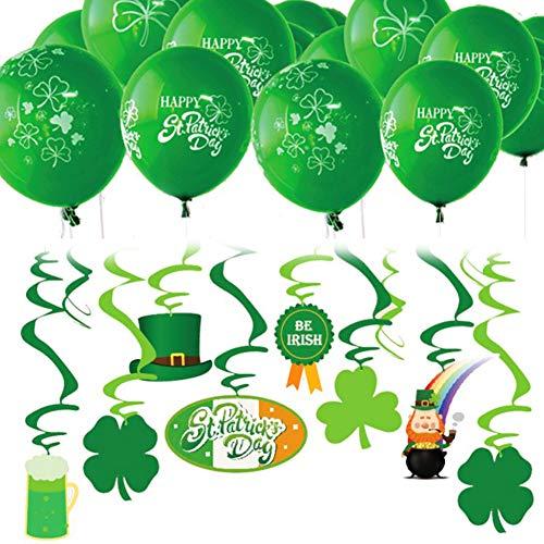 Ruiting Balloon Glücksklee St. Patrick's Day Konfetti Deko Set Klee Luftschlangen Band Balloon Grün 45pcs/Set - Grüne Luftschlangen