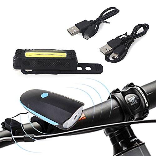Agapo LED luce della bici+ corno Bell altoparlante a USB ricaricabile insieme faro e fanale posteriore