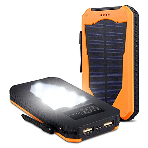 Backup Handy-ladegerät (15000mAh Solarstrom Ladegerät Dual USB Anschlüsse Solar Ladegerät tragbare Solar Panel Back Up Handy Ladegerät für iPhone5se 5s 6 6s Plus, iPod, iPad, Samsung Galaxy S4 S5 S6 S7 Edge Note 3 4 5, Tablet etc. Orange)