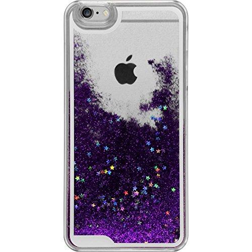 PhoneNatic Case für Apple iPhone 6 Plus / 6s Plus Hülle silber Stardust Hard-case für iPhone 6 Plus / 6s Plus + 2 Schutzfolien Lila