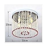 WLM Moderne Minimalistische LED-Kristallbeleuchtung, Schlafzimmerdeckenleuchte, Esszimmerbeleuchtung Rot,Weißes Licht,3 Köpfe