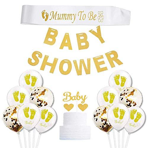 0001c192e8f caicainiu Baby Shower Decorations, Oro e Bianco Genere Neutro Supplies  Ragazzo o Ragazza con Baby Shower Letter Banner Mummy To Be Cintura Sash  Cake ...