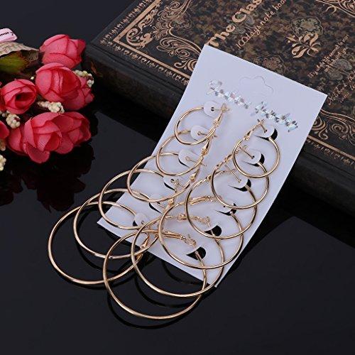 ECMQS 6 Paare/Satz Vintage Baumeln Großen Kreis Hoop Ohrringe Frauen Steampunk Ohr Clip (Rose Gold)