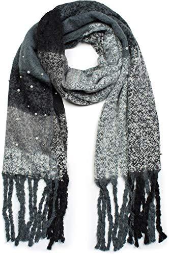 styleBREAKER Damen XXL Schal kariert mit Perlen und langen Fransen, Winter Strickschal 01017103, Farbe:Schwarz-Grau-Weiß