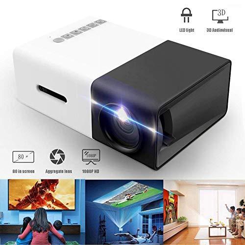 Genmaisima Mini-Projektor, tragbarer Pico-Vollfarb-LED-LCD-Videoprojektor für Kinder, Video-TV-Film mit HDMI-USB-AV-Schnittstellen und Fernbedienung Nec Led-tv