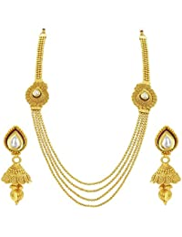 Sukkhi Fascinating Four String Jalebi Gold Plated Kundan Necklace Set For Women