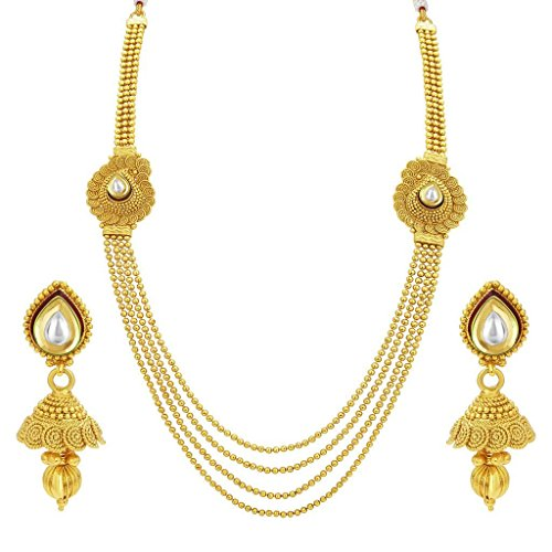 Sukkhi Fascinating Four String Jalebi Gold Plated Kundan Necklace Set For Women