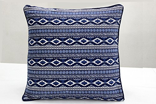 AURAVE Traditional Hand Block Printed Geometrical Cotton Cushion Cover - Blue - 12 inch x 12 inch
