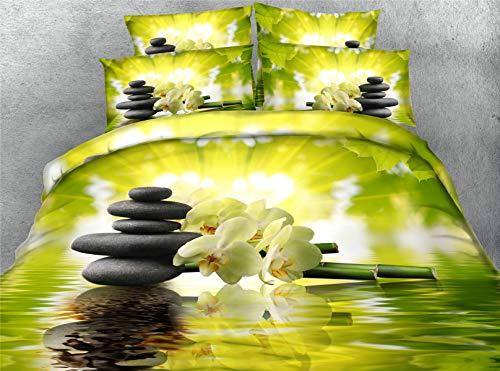 3D Blume Drucken Bettwäsche Set 3 TLG, Morbuy Tencel 3 Teilig King Size Babybett Erwachsenee Junge Mädchen Zimmer Bettbezug Set Reißverschluss Bettbezug Kissenbezüge (150x200cm,Stein) -