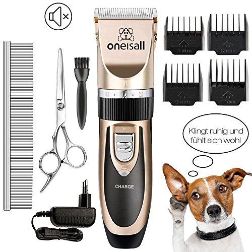 Oneisall Haustier Grooming Clipper Kits Geräuscharmer Haarschneidemaschine Haarschneider Schermaschine Hund und Katze Timmer Haustier Wiederaufladbare Drahtlose Elektrische Leise Tierhaarschneider