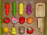 #7: Emob 12 Pcs Wooden Realistic Velcro Sliceable Vegetables and Fruits Cutting Playset Toy with Chopping Board and Knife