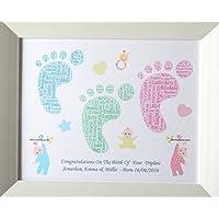 Bella personalizzato nascita del neonato, neonato femmina, due o tre gemelli Footprint Word Art. Presentato in 8